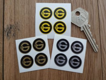 Girling Small G Stickers. Set of 4. 18mm.