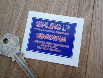 """Girling Master Cylinder Sticker. 2""""."""