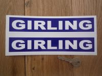 Girling LeMans Style Blue & White Oblong Stickers. 9