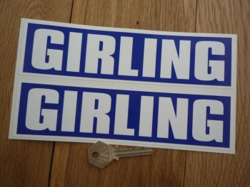 "Girling GT40 Style Blue & White Oblong Stickers. 8"" or 10"" Pair."