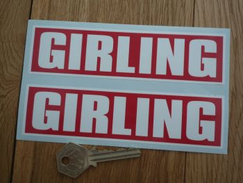 "Girling Red & White Oblong Stickers. 6"" Pair."