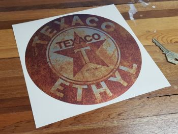 Texaco Ethyl Rusty Distressed Style Sticker 8""