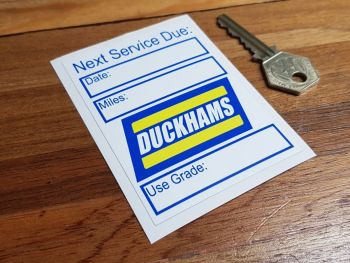 "Duckhams 'Next Service Due' Sticker 3.75"""