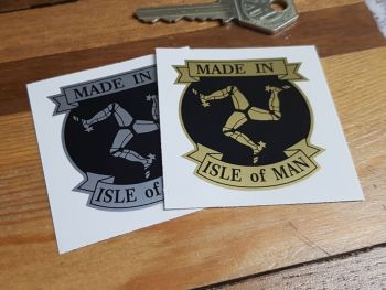Made in Isle Of Man Triskelion & Scroll Sticker 2""