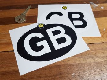 GB Old RAC Black on White or White on Black ID Plate Sticker 5""