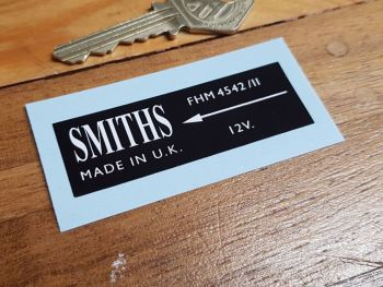 Smiths Heater Label FHM 4542/II Sticker. 66mm.