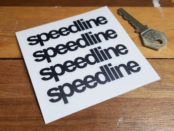 Speedline Black & Clear Lowercase Stickers - Set of 4 - 85mm