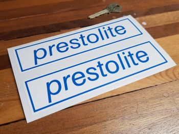 "Prestolite Blue & White Oblong Stickers 7"" Pair"