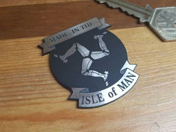 Made in Isle Of Man Triskelion & Scroll Self Adhesive Badge 2""