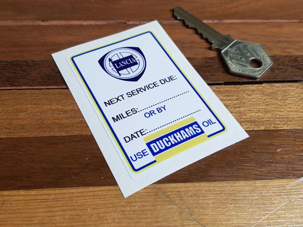 Lancia & Duckhams Oil Service Sticker. 3