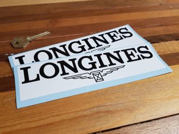 "Longines Black & White Oblong Stickers. 8"" Pair."