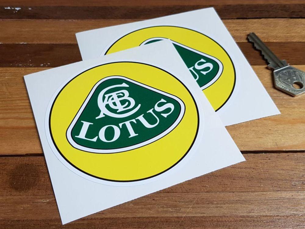 Lotus Yellow, Green & White with Black Line Circular Logo Stickers. 4