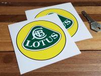 "Lotus Yellow, Green & White with Black Line Circular Logo Stickers. 4"" Pair."
