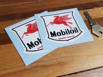 "Mobil Mobiloil Socony-Vacuum Shield Stickers. 3"" or 4"" Pair."