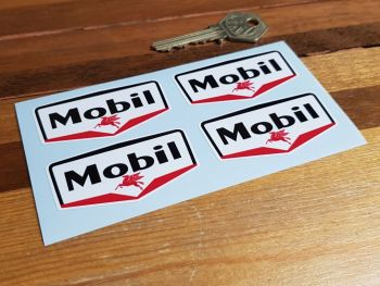 Mobil Gas Station Stickers. Set of 4. 60mm.