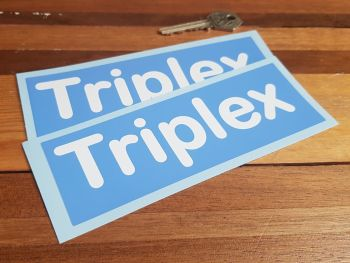 "Triplex Blue & White Oblong Stickers. 6"" Pair."