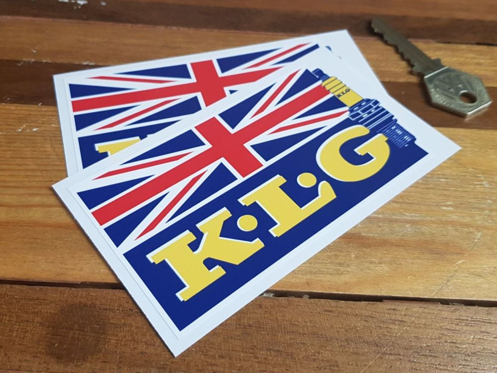 K.L.G Spark Plug and Union Jack Stickers. 4.5