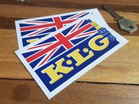 K.L.G Spark Plug and Union Jack Stickers. 4.5
