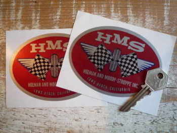 "Holman and Moody-Stroppe Inc HMS Oval Stickers. 4.25"" Pair."
