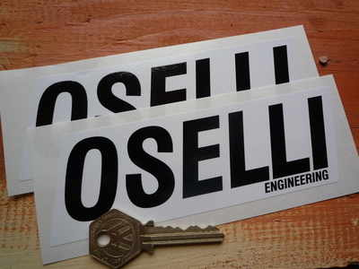 Oselli Engineering Black & White Oblong Stickers. 6