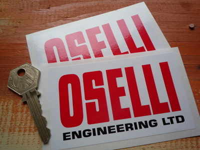 Oselli Engineering Red, White & Black Oblong Stickers. 4