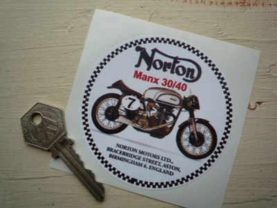 Norton Manx 30/40 Circular Sticker. 3.25