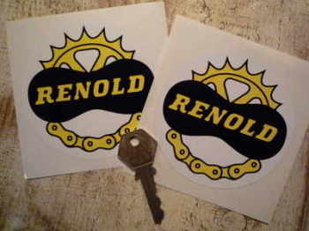 "Renold Chain & Gear Circular Stickers. 3.5"" Pair."