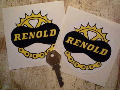 """Renold Chain & Gear Circular Stickers. 3.5"""" Pair."""