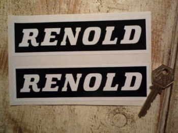 "Renold Black & White Oblong Stickers. 6"" Pair."