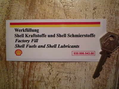 Porsche 911 Shell Fuels & Lubricants Sticker. Engine Bay. 5