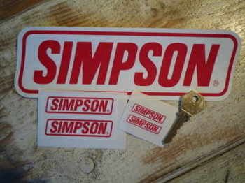 "Simpson Red & White Slanted Oblong Stickers. 1.5"", 3"" or 9"" Pairs."