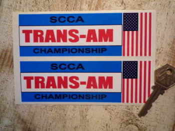 "SCCA Trans-Am Championship Stickers. 5"" or 5.5"" Pair."