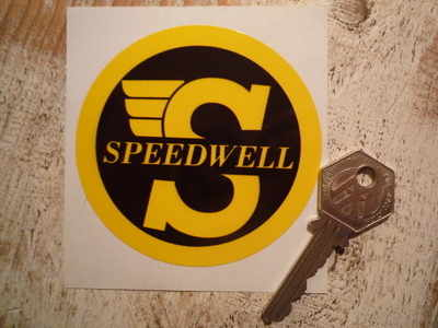 Speedwell Yellow & Black Circular Stickers. 3.25