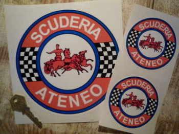 """Scuderia Ateneo Circular Stickers. 3"""", 4"""" or 6.25"""" Pairs."""