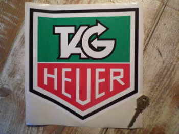 "Tag Heuer Black Outline Full Colour Sticker. 8""."