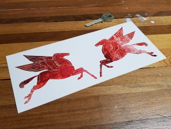 "Mobil Earlier Pegasus Distressed Stickers - 4"" or 6"" Pair"