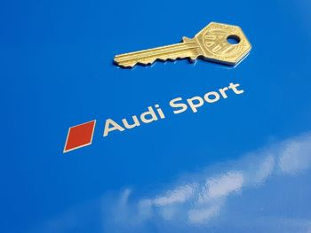 """Audi Sport & Logo Cut Silver Text Stickers - 3.25"""" or 4"""" Pair"""