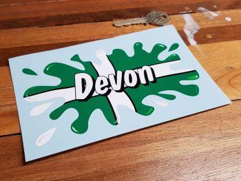 """Devon Text Flag Splat Style Sticker 6"""""""