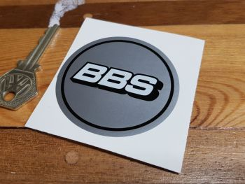 BBS Wheel Centre Sticker - Full Gloss White on Silver with Coachline - 65mm