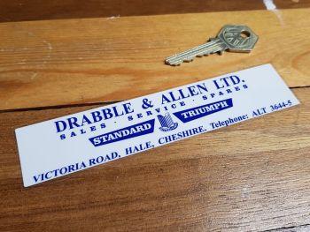 "Standard Triumph Dealer Window Sticker - Drabble & Allen Cheshire - 6"""