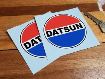 """Datsun Old Style Round Stickers - 3"""" or 5"""" Pair"""