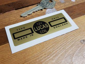 Lucas Coil Sticker - HA12 12V - Gold - 81mm