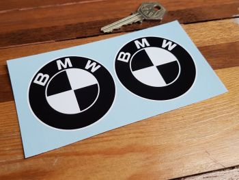 BMW Black & White Roundel Stickers 63mm Pair