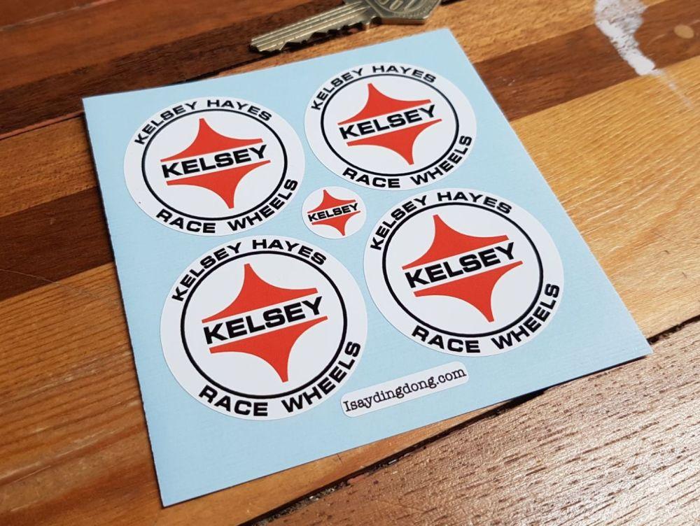 Kelsey Hayes Race Wheels Circular Stickers - Set of 4 - 47mm