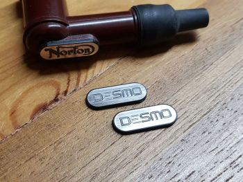 Desmo Ducati HT Cap Cover Badges NGK Spark Plug - Outline Text - 22mm Pair