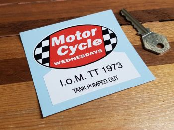 """Motor Cycle Wednesdays I.O.M TT 1973 Tank Pumped Out Sticker 3"""""""