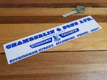 "Standard Triumph Dealer Window Sticker - Chamberlin & Sons Aylesbury - 8"""