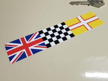 "Combination Union Jack, Chequered, & Dorset Flag Sticker 6"""