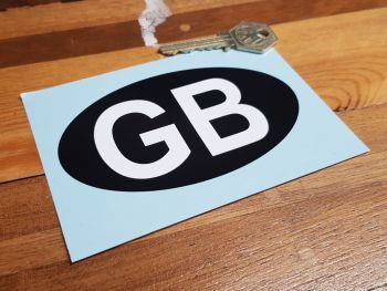 GB ID Plate Sticker - Plain White Text on Black Oval - 4.5""