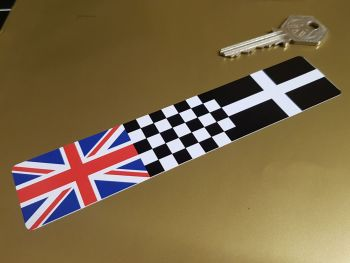 Combination Union Jack, Chequered, & Cornish Kernow Flag Sticker 6""
